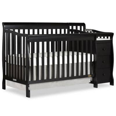 Brody Black 5-in-1 Convertible Crib with Changer