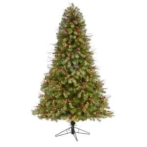 6.5 ft. Pre-lit Lightly Frosted Big Sky Spruce Artificial Christmas Tree with 450 Clear Multi-Function LED Lights