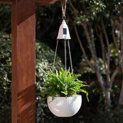 10.25 in. D Solar Lighted White Plastic Hanging Planter