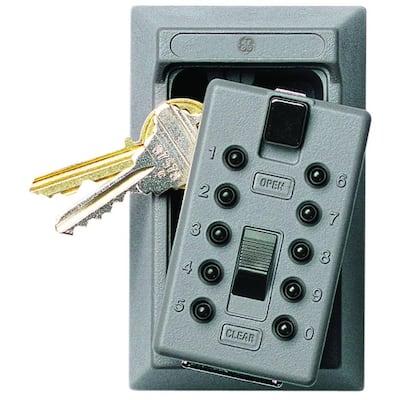 Mounted 5-Key Lock Box with Pushbutton Combination Lock, Titanium