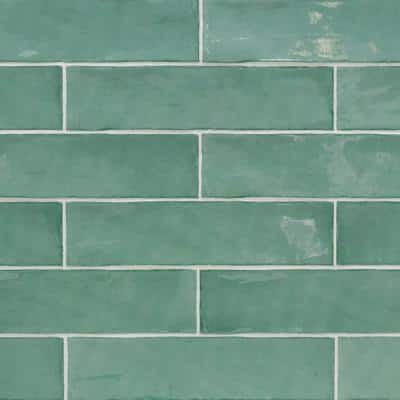 Catalina Green Lake 3 in. x 12 in. x 8 mm Polished Ceramic Subway Wall Tile (10.76 sq. ft./case)
