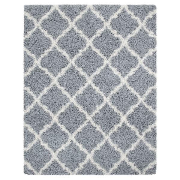 Sweet Home Stores Cozy Shag Collection Gray And Cream Moroccan Trellis Design 8 Ft X 10 Ft Area Rug Cozy2273 8x10 The Home Depot