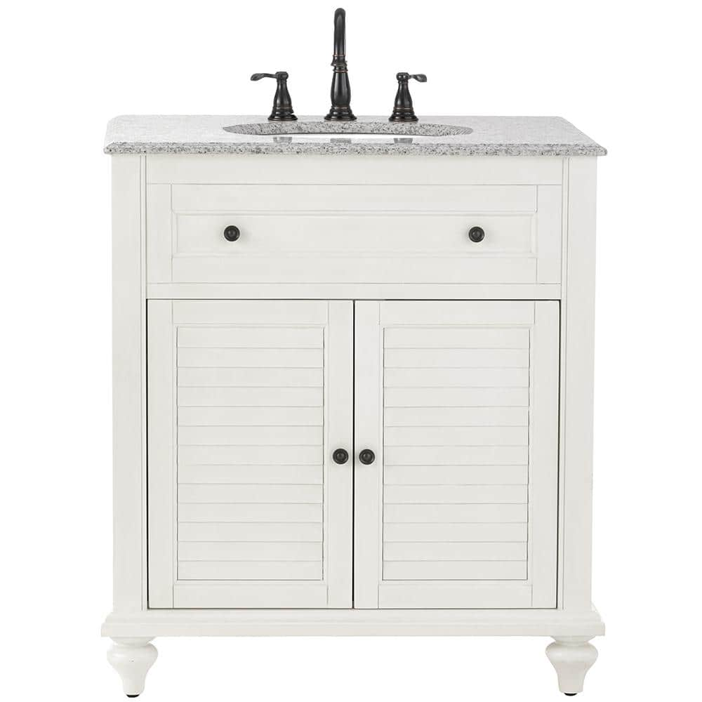 Home Decorators Collection Hamilton Shutter 31 In W X 22 In D Bath Vanity In Ivory With Granite Vanity Top In Grey 10806 Vs31h Dw The Home Depot