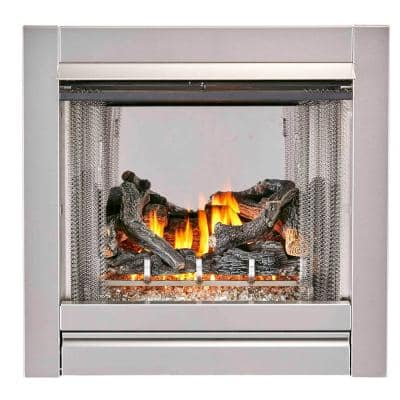 Duluth Forge Vent Free Stainless Outdoor Gas Fireplace Insert With Fire Glass Media and Log Set - 24,000 BTU