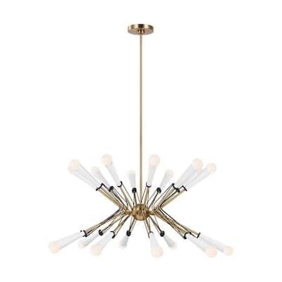 ED Ellen DeGeneres Piro 20-Light Burnished Brass Large Mid-Century Modern Hanging Sputnik Chandelier