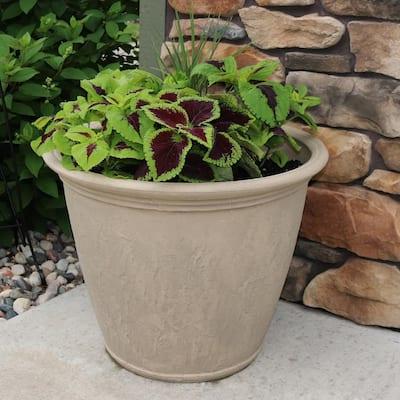 Anjelica 24 in. Beige Poly Outdoor Flower Pot Planter (4-Pack)