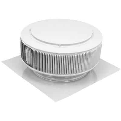 12 in. White Powder Coated Aluminum Static Roof Vent No Moving Parts Wind Turbine
