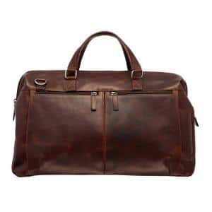 Buffalo Collection 20 in. x 10 in. x 13.5 in. (W x D x H) Brown Leather Top Zipper 20 in. Carry on Duffel Bag