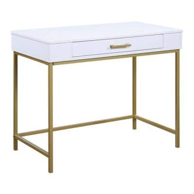 Modern Life Desk with White Matte Top and Gold Metal Legs