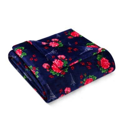 French Floral Ultra Soft Plush Microfiber Navy 1-Piece King Blanket