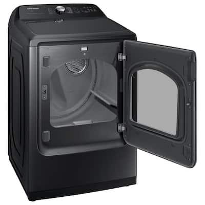 7.4 cu. ft. Smart Brushed Black Electric Dryer with Steam Sanitize