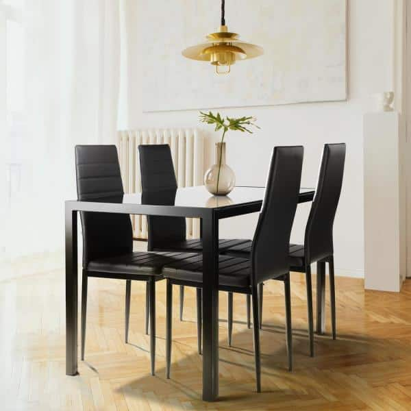 Boyel Living Modern 48 In Rectangle, Glass Top Dining Room Table