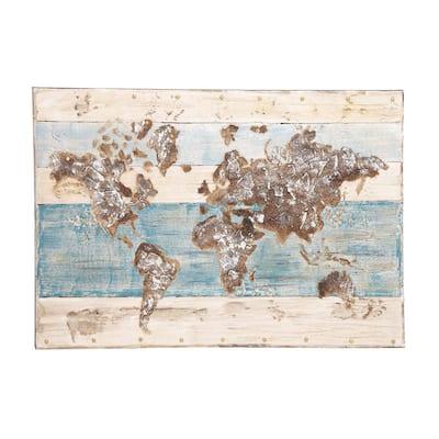 """Rustic World Map"" Framed Canvas Wall Art"