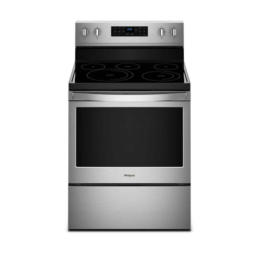 Whirlpool 5 3 Cu Ft Electric Range With Self Cleaning Convection Oven In Fingerprint Resistant Stainless Steel Wfe550s0hz The Home Depot