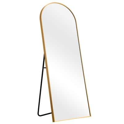 64 in. x 21 in. Modern Arched Metal Framed Gold Full Length Floor Standing Mirror