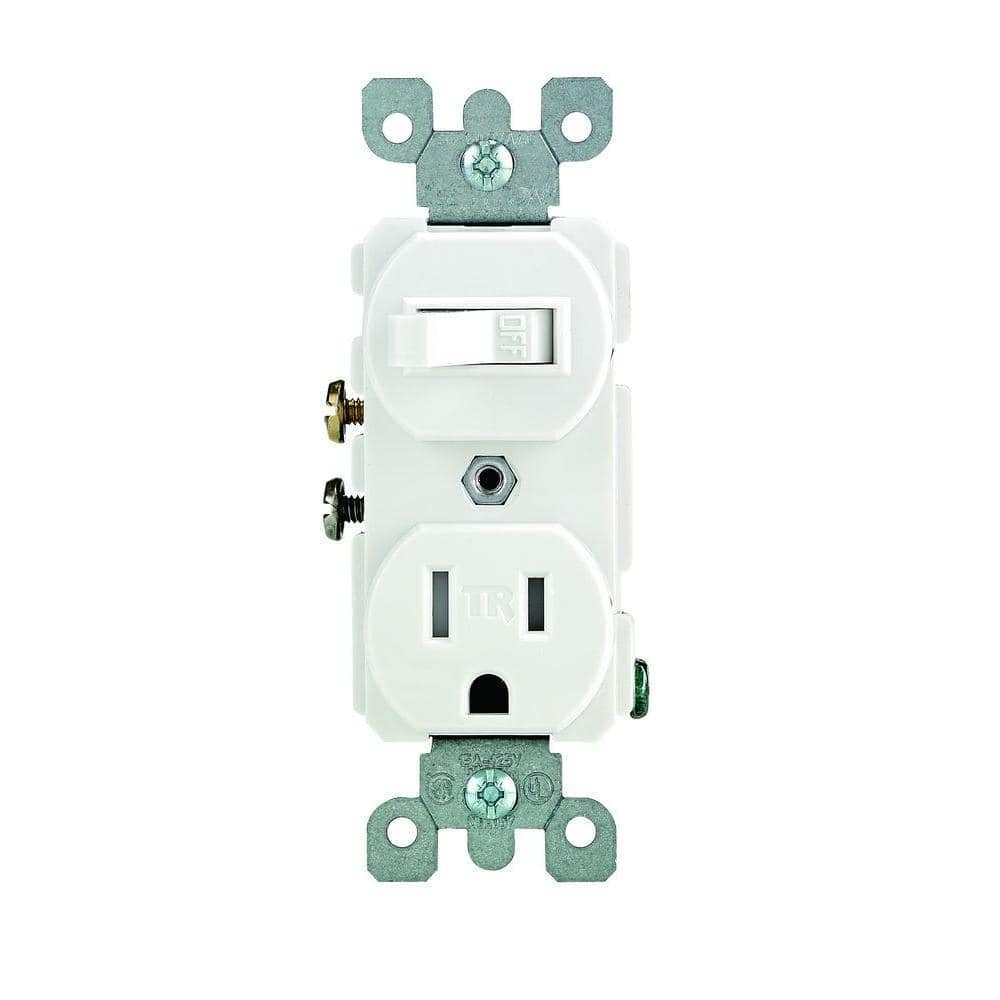 Leviton 15 Amp Tamper-Resistant Combination Switch and Outlet,  White-R62-T5225-0WS - The Home DepotThe Home Depot