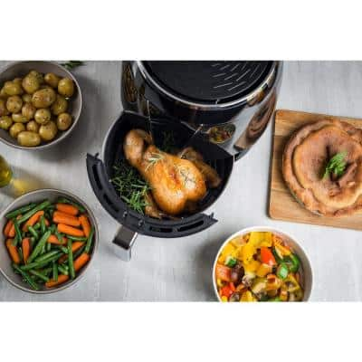 5Qt Teflon-Free Premium Ceramic Air Fryer with 2-Tier Stainless Steel Rack, Baking Pan, Skewers and Extended Recipe Book