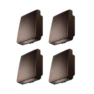 Bright 100-Watt Integrated LED Wall Pack with 1600 Lumen, Outdoor Security Lighting (4-Pack)