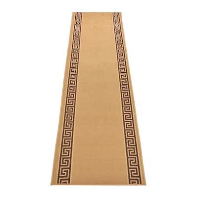"Meander Greek Key Design Cut to Size Beige Color 26"" Width x Your Choice Length Custom Size Slip Resistant Runner Rug"