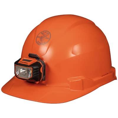 Hard Hat Non-vented Orange Cap Style with Headlamp