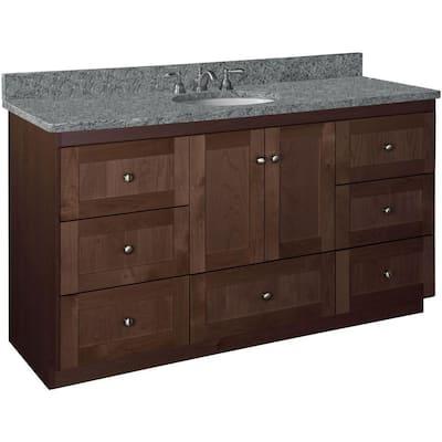 Shaker 60 in. W x 21 in. D x 34.5 in. H Simplicity Vanity Center Basin with Side Drawers in Dark Alder