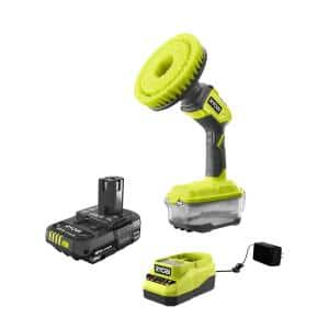 ONE+ 18V Cordless Power Scrubber and 2.0 Ah Compact Battery and Charger Starter Kit
