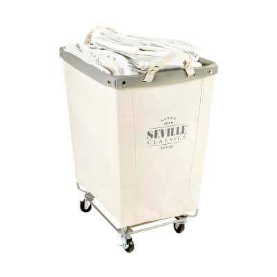 Natural White Commercial Grade Heavy-Duty Extra Large Canvas Laundry Hamper with Wheels