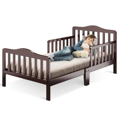 Classic Design Kids Wood Toddler Bed Frame with 2-Side Safety Guardrails