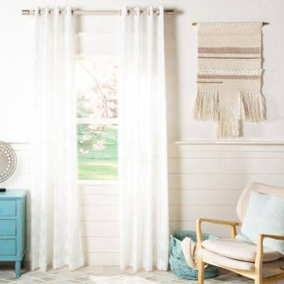 White Geometric Grommet Sheer Curtain - 52 in. W x 96 in. L