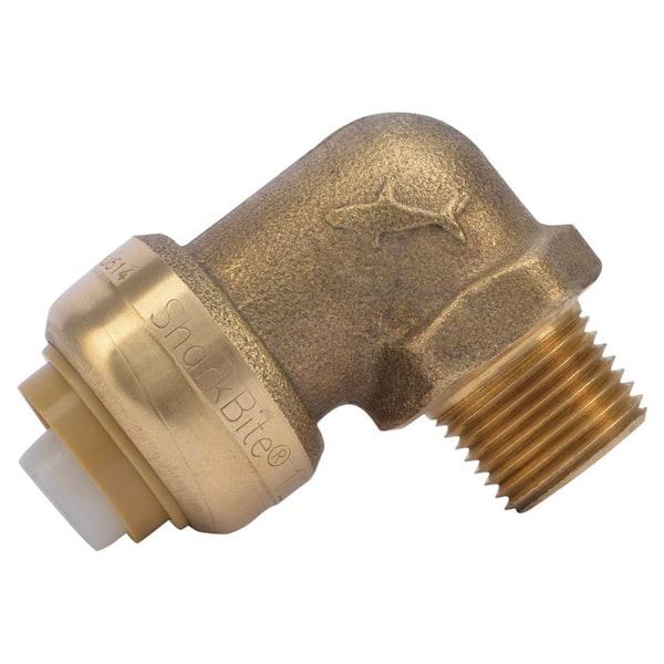 Dzr 90 SharkBite U281LFA Dishwasher Tube to Pipe Elbow Slip X Mnpt 1//2 X 3//8 in 1//2 Inch Push-to-Connect x 3//8 Inch Psi Brass 200 Deg F