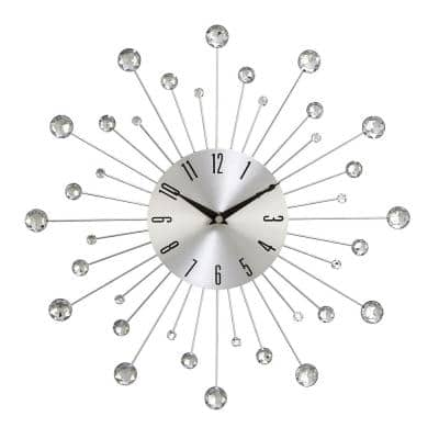 Silver Metal Glam Wall Clock