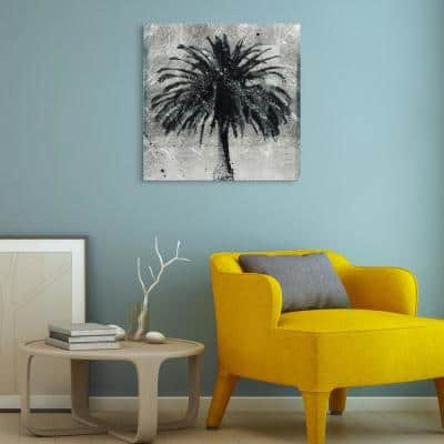 Unframed Nature Palm Tree Reverse Printed on Tempered Glass with Silver Leaf Wall Art 24 in. x 24 in.