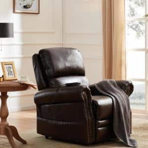 36 in. Width Big and Tall Brown Faux Leather Nailhead Trim Lift Recliner