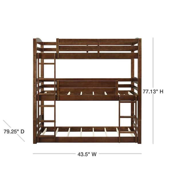 Dorel Living Noma Mocha Twin Triple Wood Bunk Bed Frame Fh7891tbb The Home Depot
