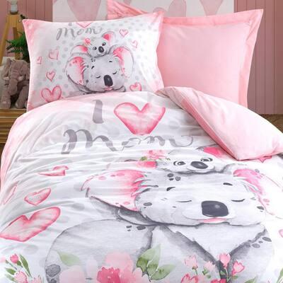 Pink Koala Bear Duvet Cover Set, Twin Size Duvet Cover, 1 Duvet Cover, 1 Fitted Sheet and 2 Pillowcases, Child Room Set