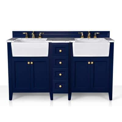 Adeline 60 in. W x 20.9 in. DBath Vanity in Heritage Blue with Marble Vanity Top in Carrara White with White Basin