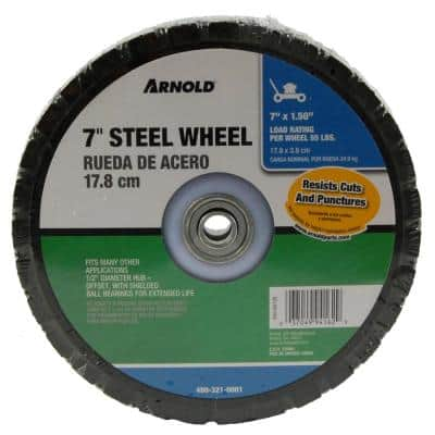 7 in. x 1.5 in. Universal Steel Wheel with Shielded Ball Bearings for Extended Life