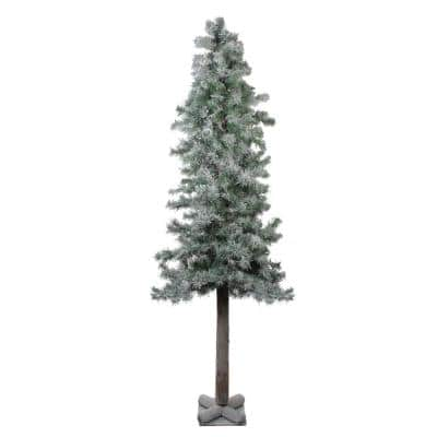 6 ft. Flocked and Glittered Woodland Alpine Unlit Artificial Christmas Tree