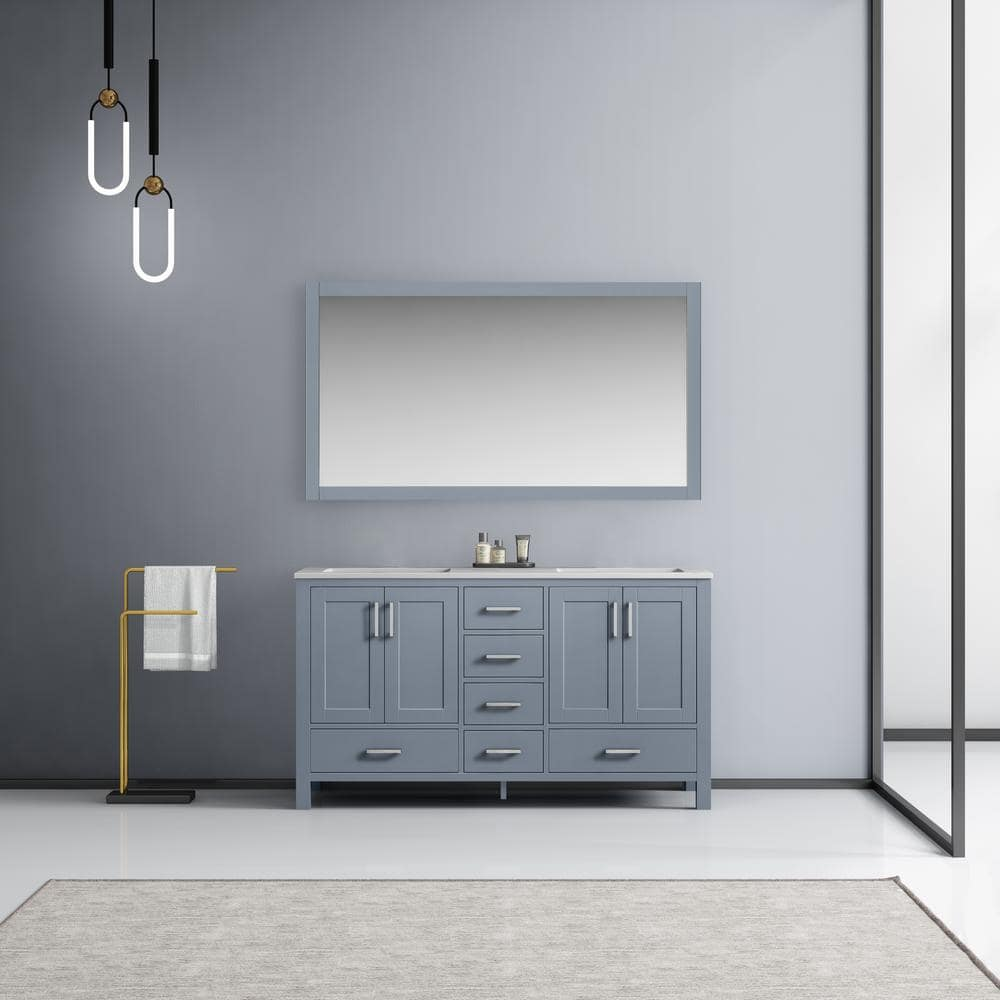 Lexora Jacques 60 Inch Double Bathroom Vanity Cabinet In Dark Grey With Top And Mirror Lj342260dbdsm58 The Home Depot