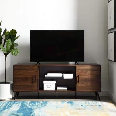 60 in. Dark Walnut Composite TV Stand 69 in. with Doors