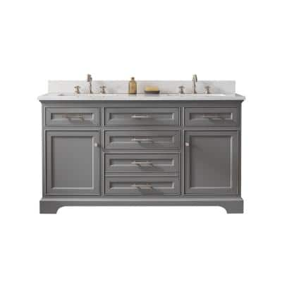 Thompson 60 in. W x 22 in. D Bath Vanity in Gray with Engineered Stone Vanity in Carrara White with White Basins