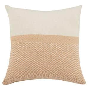 Chic Off-White / Orange Chevron Color Block Soft Poly-fill 26 in. x 26 in. Throw Pillow