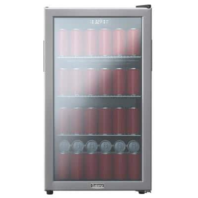 19 in. 130 (12 oz.) Can Beverage Cooler in Stainless Steel with Digital Temperature