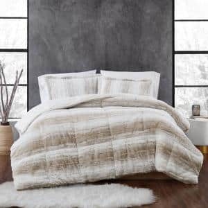Snow Leopard 3-Piece Tan Faux Fur King Comforter Set