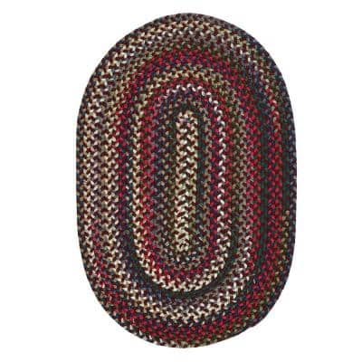 Chestnut Knoll Amber Red 7 ft. x 9 ft. Braided Oval Area Rug