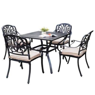 Dack Brown 5-Piece Aluminum Square Table & Stackable Chairs Outdoor Dining Set with khaki Cushions and Umbrella Hole