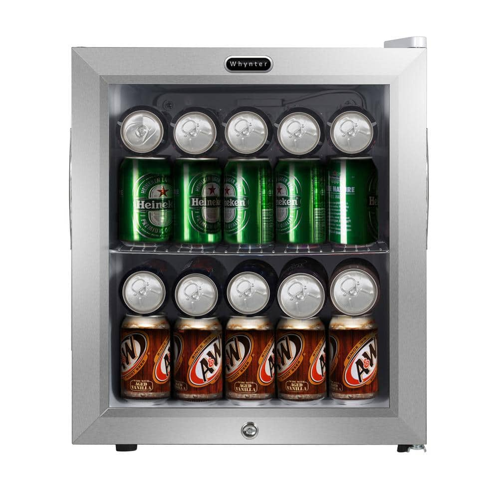 Whynter 19 In 62 12 Oz Can Cooler 1 6 Cu Ft Mini Refrigerator In White With Lock Br 062ws The Home Depot