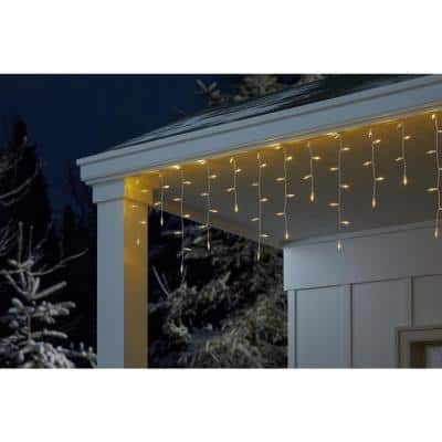 26.5 ft. 300-Light LED Smooth Mini Icicle Super Bright Constant On Warm White Christmas String Lights