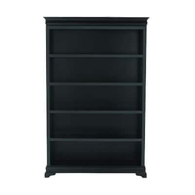 73 in. Black Wood 5-shelf Modular Bookcase with Adjustable Shelves
