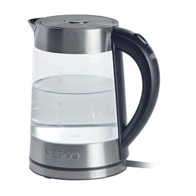7-Cup Silver Electric Kettle with Built-In Cord Storage